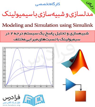 فرادرس شبیه سازی و تحلیل پاسخ یک سیستم درجه دو در سیمیولینک با نسبت های میرایی مختلف