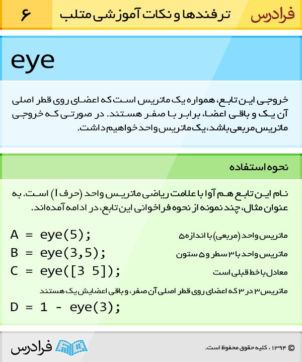 خروجی تابع eye، همواره یک ماتریس است که اعضای روی قطر اصلی آن یک و باقی اعضا، برابر با صفر هستند. درصورتی که خروجی ماتریس مربعی باشد، یک ماتریس واحد خواهیم داشت.