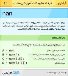 تابع nan برای نمایش حاصل عبارات نامعین (مانند تقسیم صفر بر صفر) به کار می رود. این نماد با هیچ عدد دیگری برابر نیست؛ حتی خودش! عبارت nan مخفف شده عبارت Not a Number است.